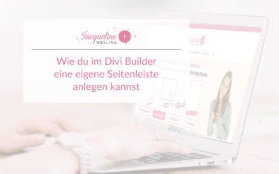 Wie du im Divi Builder eine eigene Seitenleiste anlegen kannst